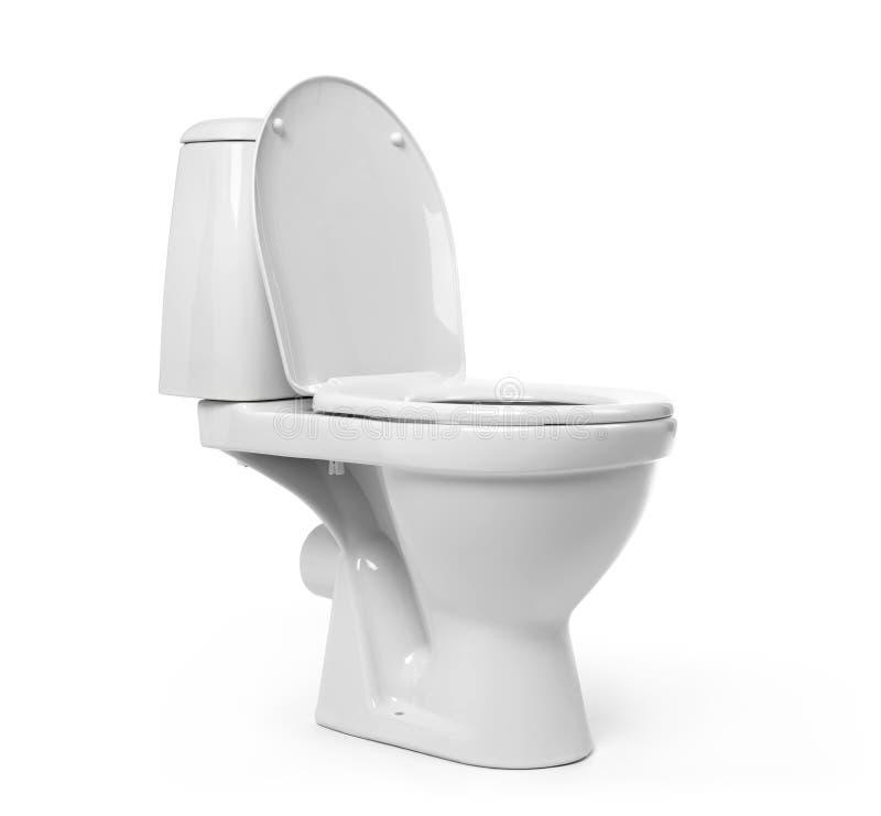 Ouvrez la cuvette des toilettes sur le fond blanc image libre de droits