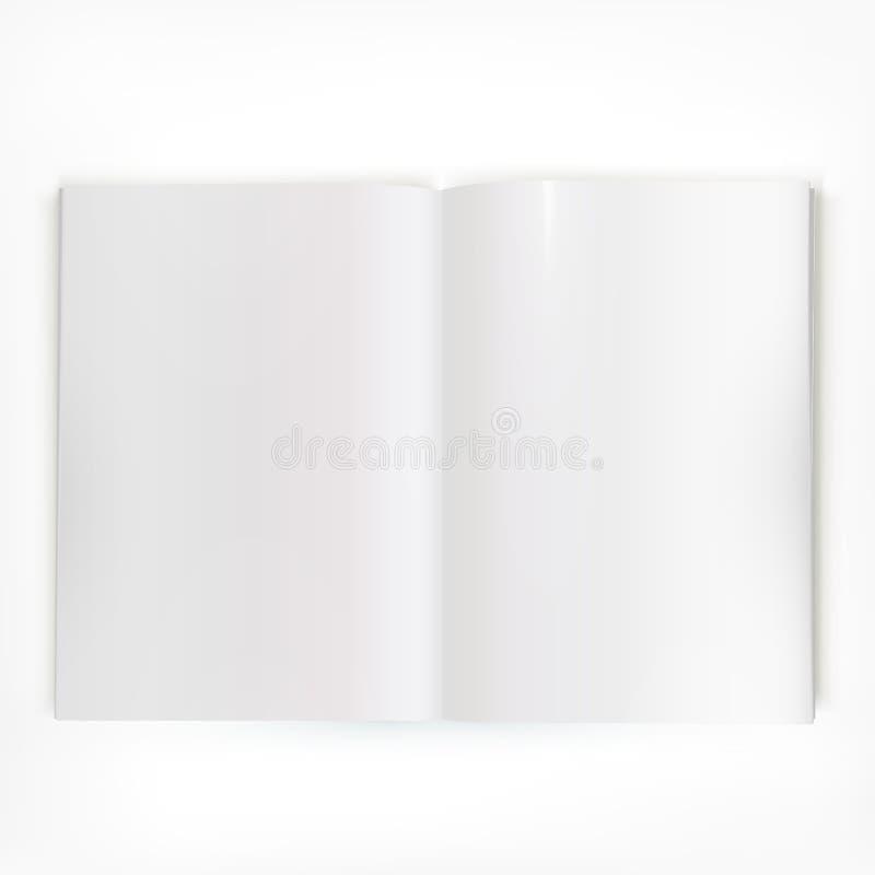Ouvrez la diffusion brillante blanche de double-page de catalogue illustration de vecteur