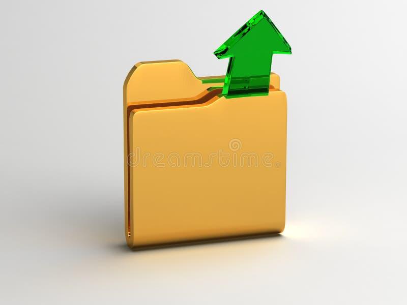 Ouvrez la flèche de dossier et en verre vert illustration de vecteur