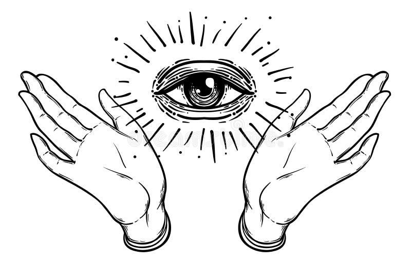 Ouvrez la main avec l'oeil tout-voyant sur la paume Vec occulte de conception illustration libre de droits