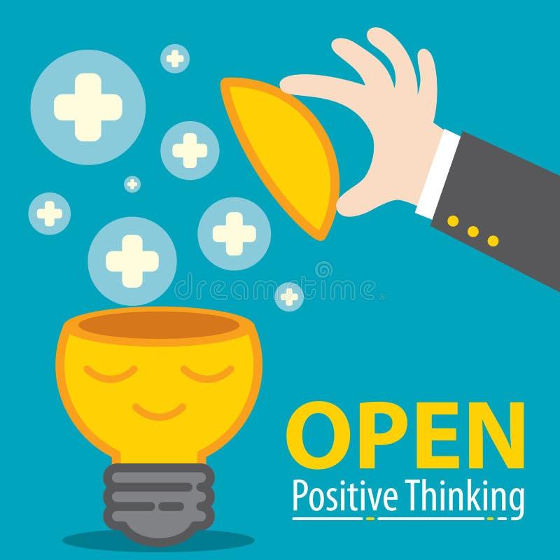 Ouvrez la pensée de positif illustration libre de droits