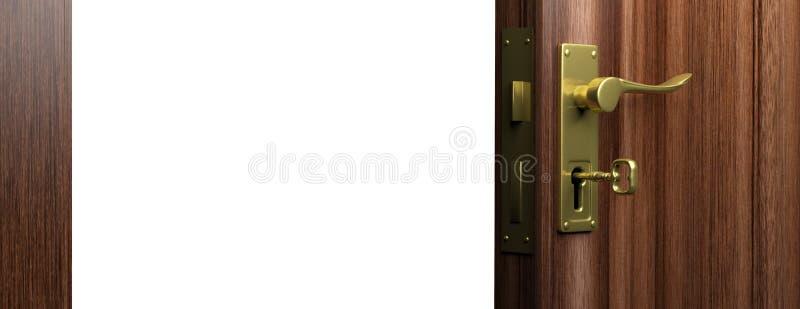 Ouvrez la porte en bois avec la poignée en bronze et la clé, copient l'espace illustration 3D illustration libre de droits