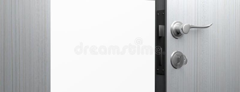 Ouvrez la porte en bois avec la poignée de chrome et la clé, copient l'espace illustration 3D illustration stock