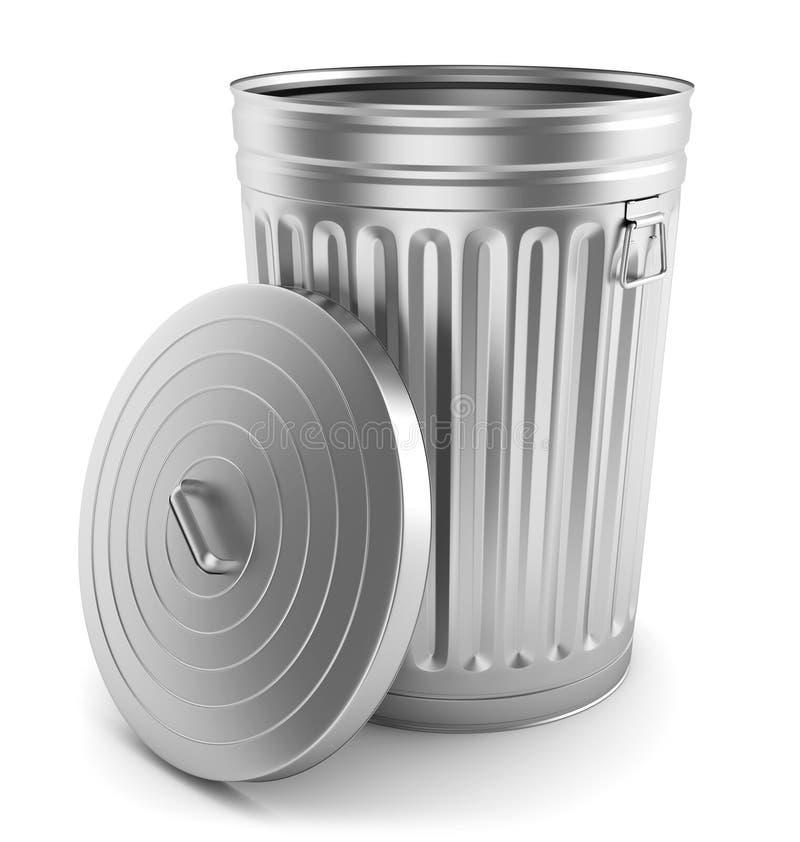 Ouvrez la poubelle en acier illustration de vecteur