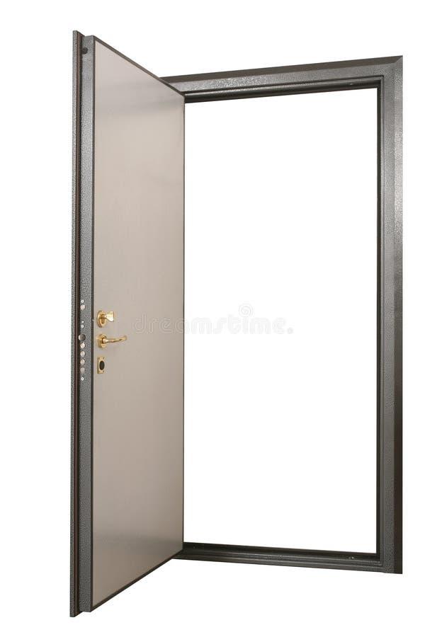Ouvrez la sûr-porte puissante en métal avec le panneautage en bois naturel image libre de droits