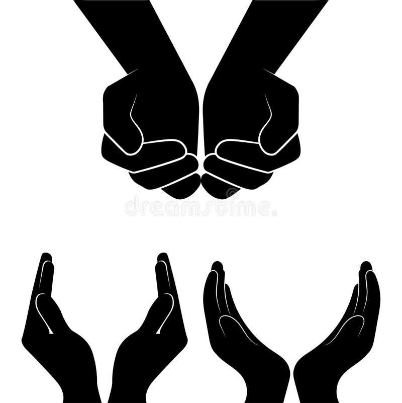 Ouvrez la silhouette de mains sur le blanc illustration libre de droits