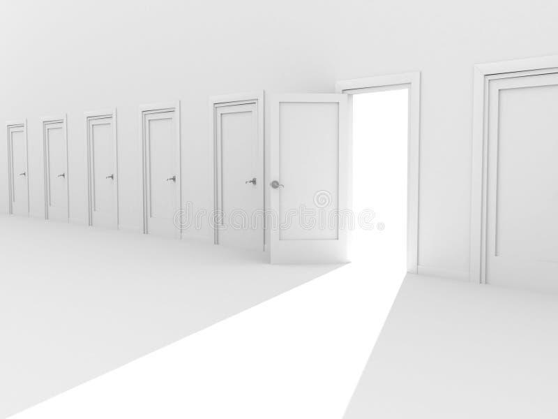 Ouvrez la trappe 3d dans une ligne des trappes fermées illustration stock