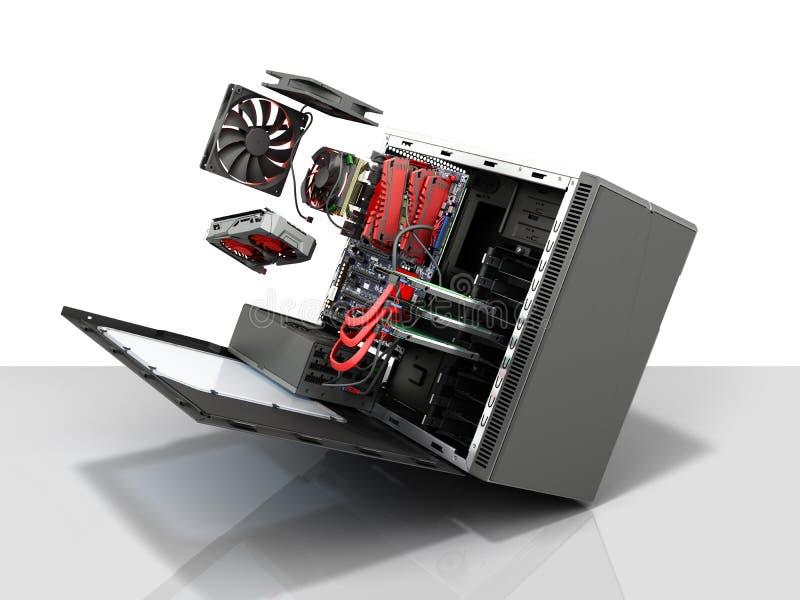 ouvrez la valise de PC avec la carte vidéo p de pièces de refroidisseur interne de carte mère illustration libre de droits