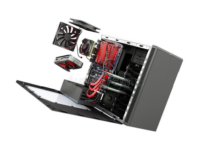 ouvrez la valise de PC avec la carte vidéo p de pièces de refroidisseur interne de carte mère illustration stock