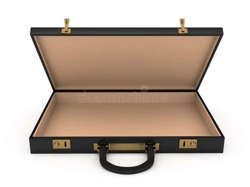 Ouvrez la valise noire au-dessus du fond blanc illustration de vecteur