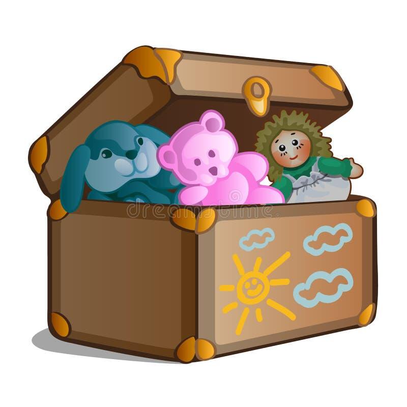 Ouvrez la vieille valise avec des jouets d'isolement sur le fond blanc Illustration de plan rapproché de bande dessinée de vecteu illustration stock