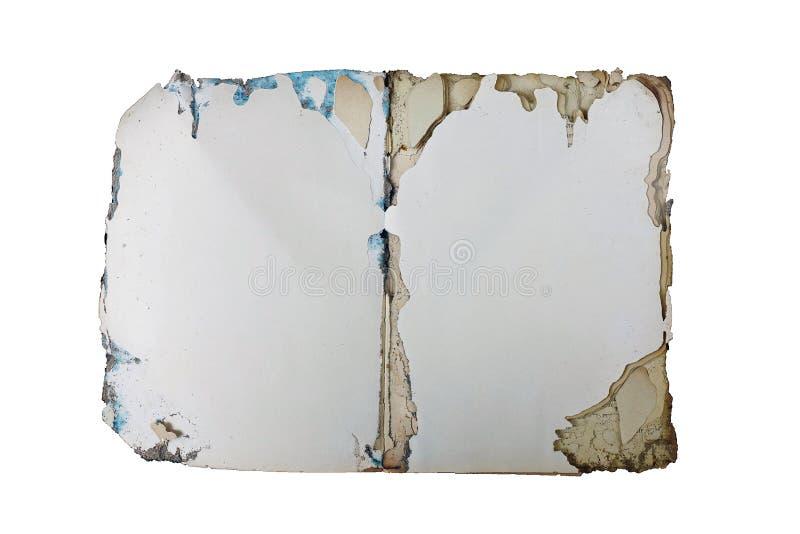 Ouvrez le blanc de livre sur le vieux mur en béton, fond de vintage, livre de vintage, photo libre de droits