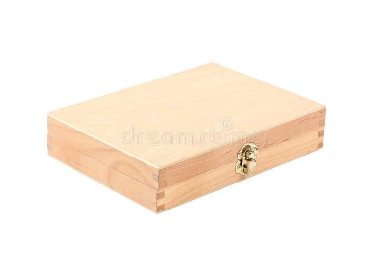Ouvrez le boîte-cadeau en bois d'isolement sur le fond blanc avec le chemin de coupure images libres de droits