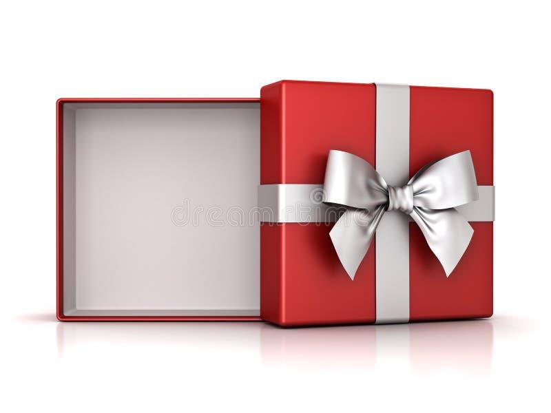 Ouvrez le boîte-cadeau rouge ou la boîte actuelle avec l'arc argenté de ruban et l'espace vide dans la boîte sur le fond blanc illustration stock
