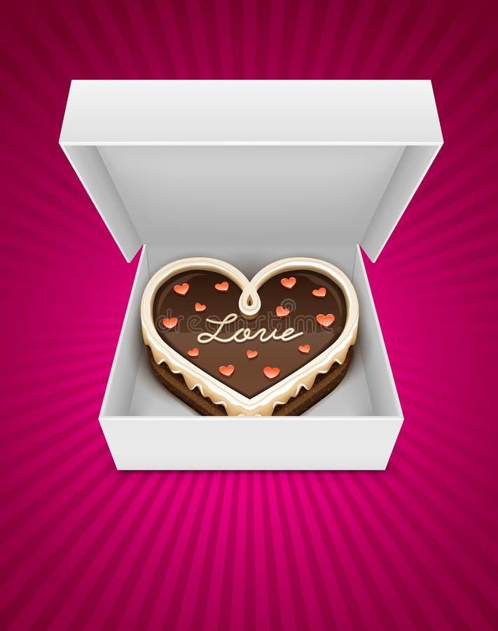 Ouvrez le cadre avec le gâteau de chocolat sous la forme de coeur illustration stock