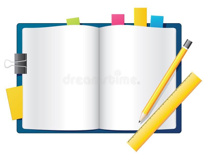 Ouvrez le cahier illustration de vecteur