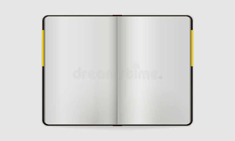 Ouvrez le carnet avec la page Bookmarked | Dirigez faux U illustration stock