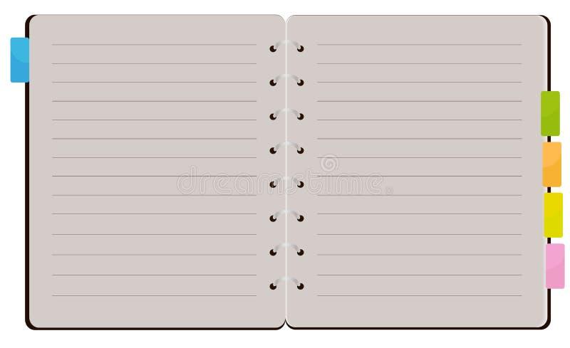 Ouvrez le carnet de notes à spirale illustration stock