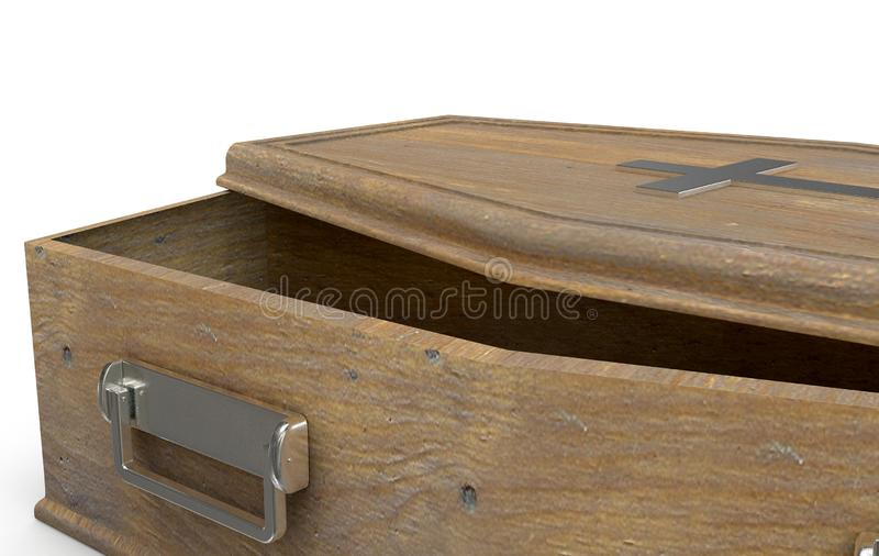 Ouvrez le cercueil et le crucifix illustration libre de droits