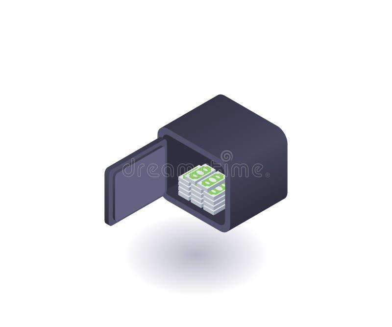 Ouvrez le coffre-fort avec l'icône d'argent, symbole de vecteur illustration stock