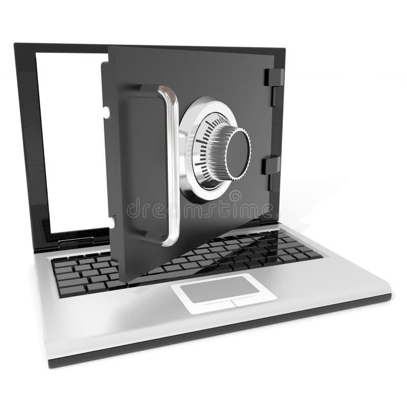Ouvrez le coffre-fort d'ordinateur portatif. illustration libre de droits