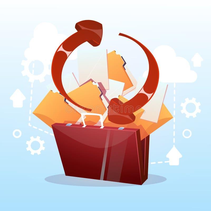 Ouvrez le concept d'affaires de synchronisation de base de données de stockage de nuage de document sur papier de serviette illustration stock