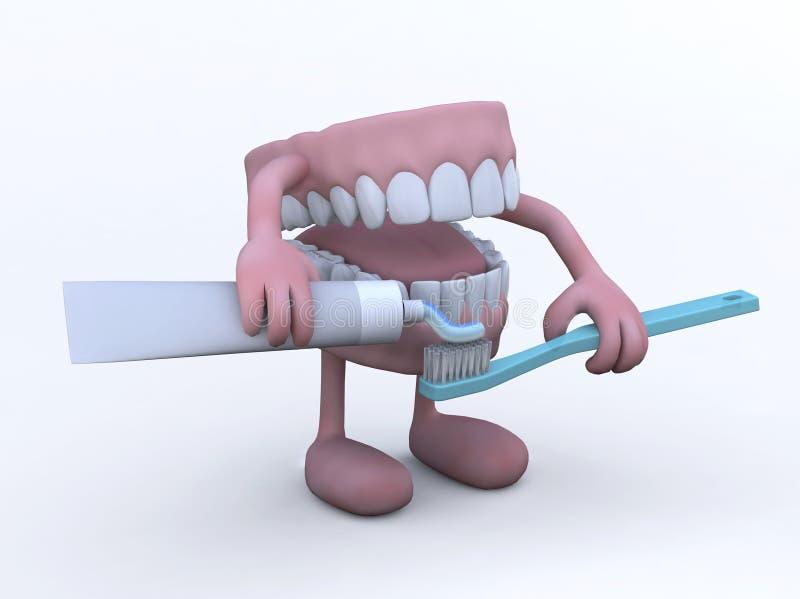 Ouvrez le dentier avec le tube et la brosse à dents de pâte dentifrice illustration libre de droits