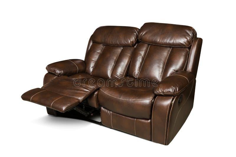 Ouvrez le divan en cuir de recliner d'isolement sur le fond blanc photographie stock libre de droits