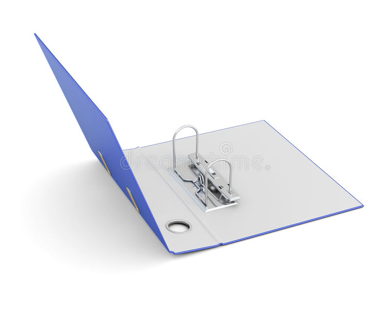 Ouvrez le dossier de bureau avec des anneaux en métal d'isolement sur le fond blanc images libres de droits