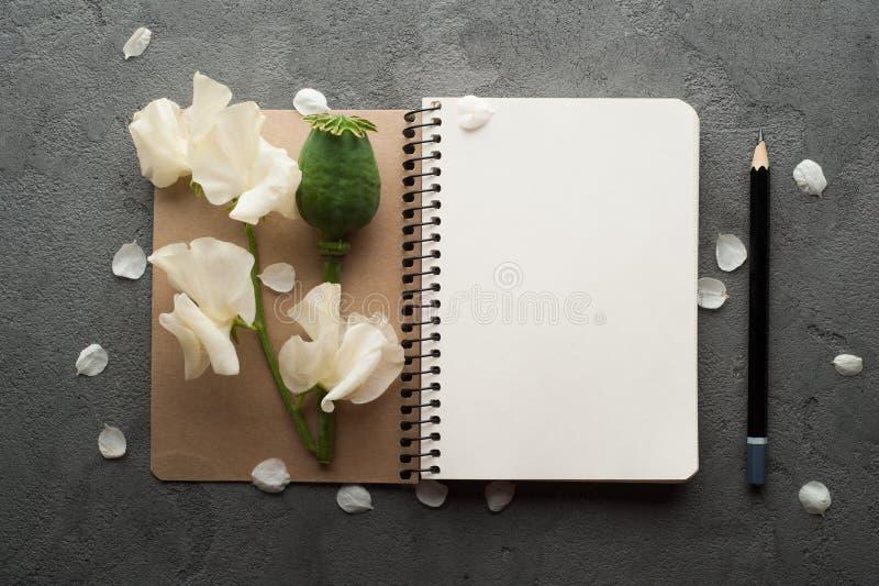 Ouvrez le journal vide avec des fleurs photos stock