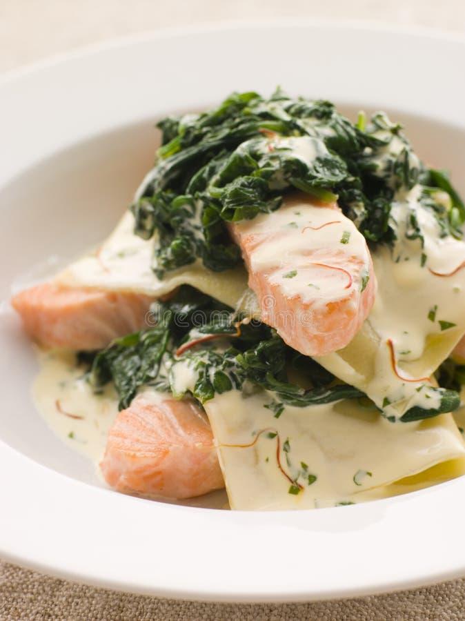 Ouvrez le lasagne des saumons et des épinards photos stock