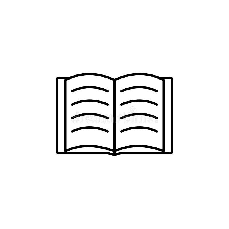 Ouvrez le livre Élément d'icône d'éducation pour les apps mobiles de concept et de Web La ligne mince livre ouvert peut être empl illustration libre de droits
