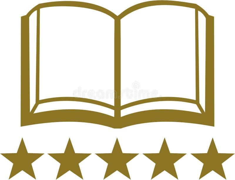 Ouvrez le livre avec cinq étoiles d'or illustration de vecteur