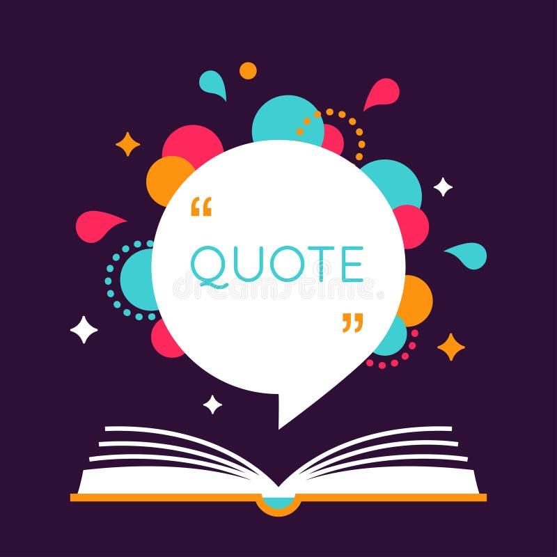 Ouvrez le livre avec l'espace pour la citation Disposition ou calibre de citation illustration de vecteur