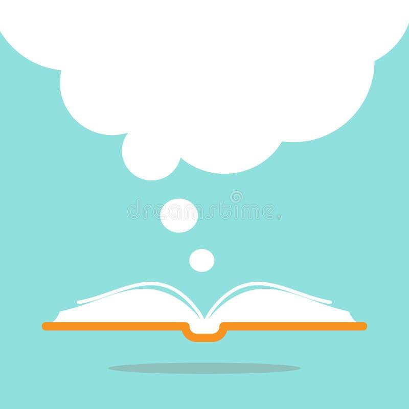 Ouvrez le livre avec la couverture de livre orange et grande la bulle blanche de la parole volant  illustration stock