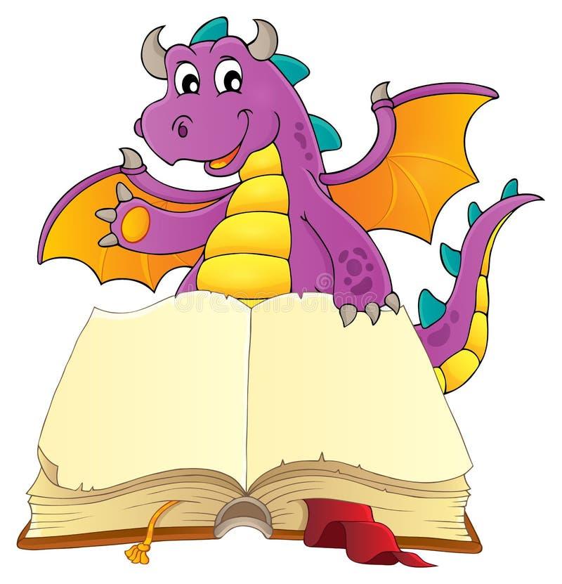Ouvrez le livre avec le dragon heureux illustration de vecteur