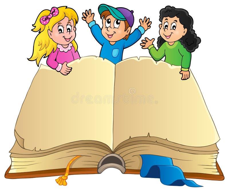Ouvrez le livre avec les enfants heureux illustration libre de droits