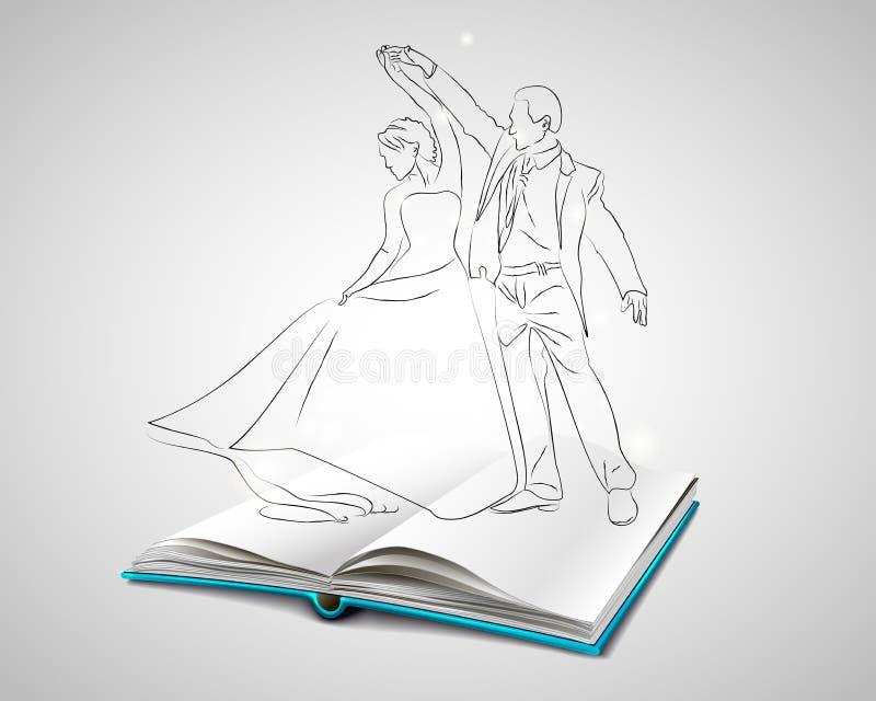 Ouvrez le livre avec une couverture bleue au sujet de la danse illustration libre de droits