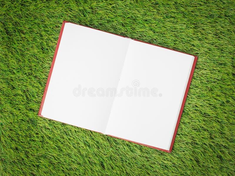 Ouvrez le livre blanc sur l'herbe verte artificielle photos libres de droits