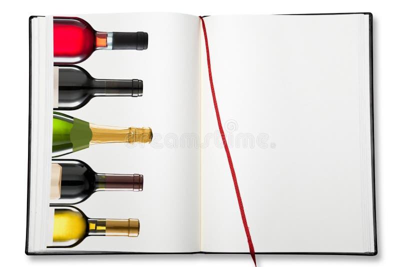 Ouvrez le livre d'exercice vide (la carte des vins) photos libres de droits