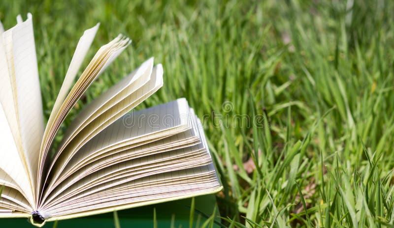 Ouvrez le livre dans l'herbe images libres de droits