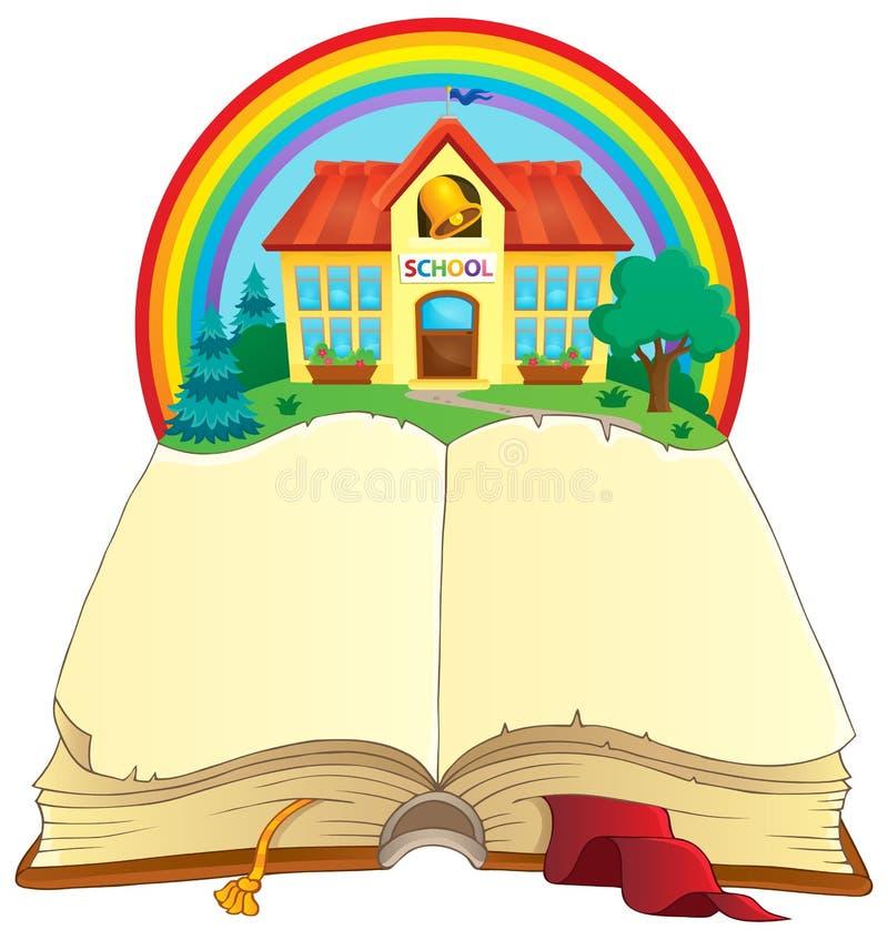 Ouvrez le livre et le bâtiment scolaire illustration de vecteur