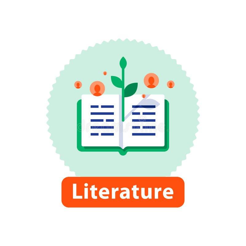 Ouvrez le livre, la lecture de littérature, la fabulation et l'écriture, concept d'éducation, icône de vecteur illustration stock