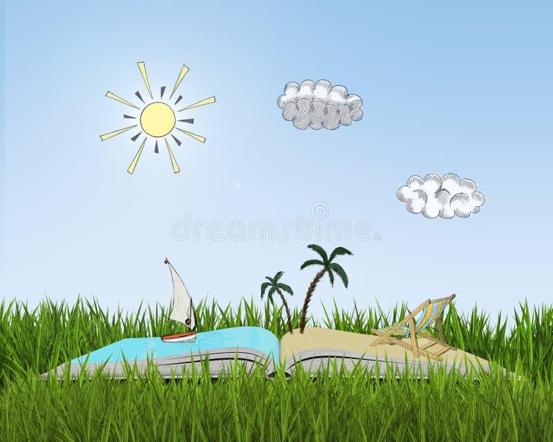 Ouvrez le livre sur l'herbe avec le croquis de la plage illustration libre de droits