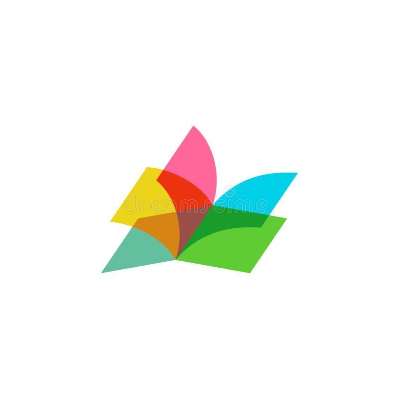 Ouvrez le logo de livre illustration stock