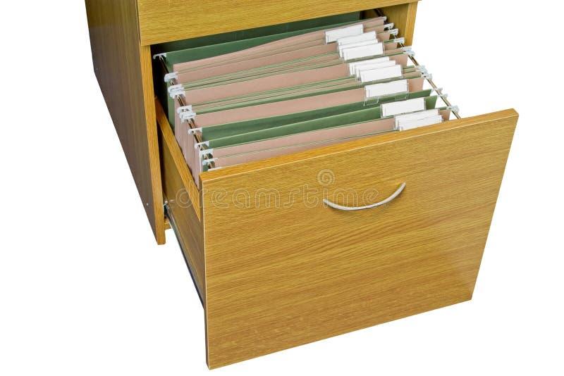 Ouvrez le meuble d'archivage en bois images stock
