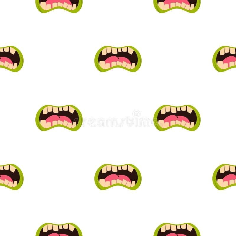 Ouvrez le modèle de bouche de zombi sans couture illustration de vecteur