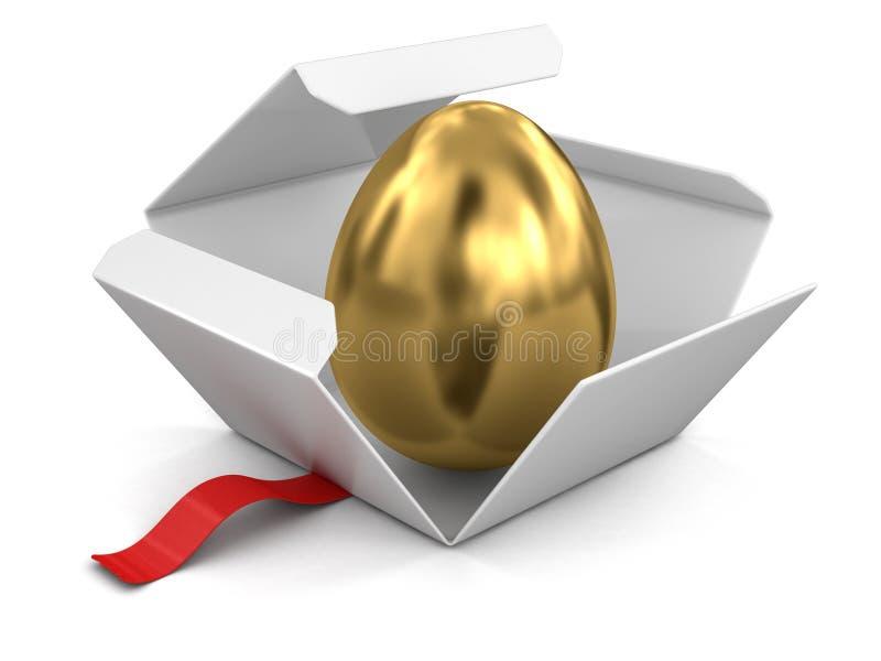 Ouvrez le paquet avec l'oeuf d'or illustration libre de droits