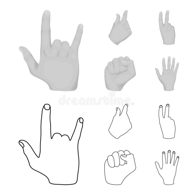 Ouvrez le poing, victoire, avare Icônes réglées de collection de geste de main dans le contour, actions monochromes de symbole de illustration stock