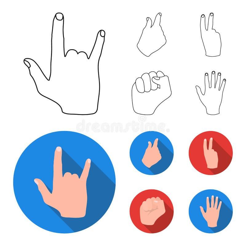 Ouvrez le poing, victoire, avare Icônes réglées de collection de geste de main dans le contour, Web plat d'illustration d'actions illustration de vecteur